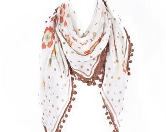 Boho scarf/pompom scarf/festival scarf