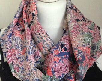 Infinity scarf made from kimono silk
