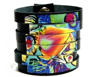 Leather bracelet folk design ethnic motif / leather cuff bracelet