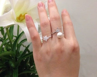 Crown Pearl Ring- Snow Flake Pearl Ring- Sterling Silver for Women