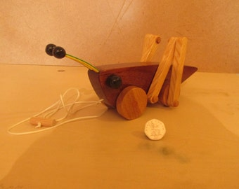 hand made wooden grasshopper