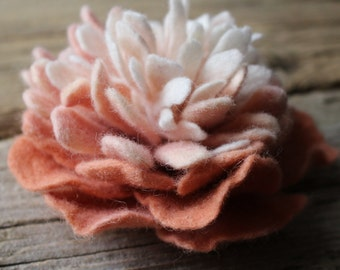 Felted Peony Brooch, Pastel, Felted Accessory, Eco Friendly.
