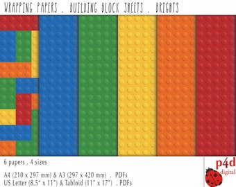 Wrapping Paper - Building Block Sheets - Bright Colours, Digital, Printable PDF, Instant Download
