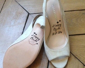 """Stickers Wedding Shoes: """"HAPPY BRIDE"""" for footwear (shoes, stickers, gift, pumps, evjf, marriage)"""