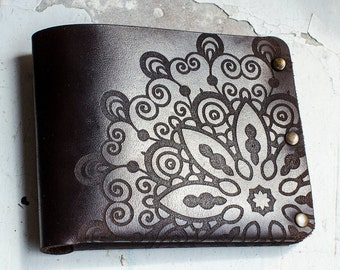 leather wallet (flower of life sacred geometry pattern)