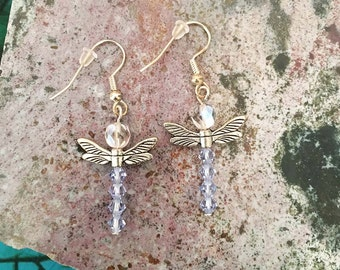 Dragonfly Earrings with light blue Swarovski crystals // gift for mom, lady, girl
