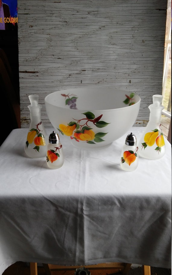 Vintage 1950s Hazel Atlas Hand Painted Frosted/Satin Glass Salad Bowl, Matching Cruet Set and Matching Salt and Pepper Shakers