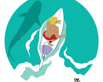 From Above: Surfer Dude Digital Illustration Print