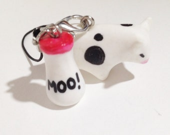 Chibi moo with bottle of MOO milk strap
