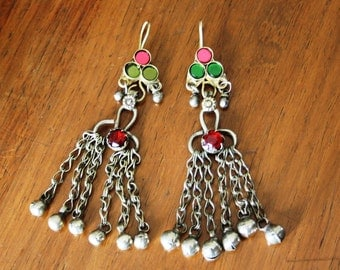 Afghan Kuchi Earrings Vintage OOAK Gypsy Earrings with Bells Boho Earrings Festival Earrings