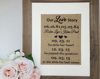 Our Love Story Personalized Wedding Burlap Sign - Rustic Wedding Sign - He Stole Her Heart Sign - Engagement Gift Sign - Burlap Wall Art