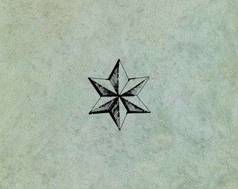 Faceted Star SMALL - Antique Style Clear Stamp