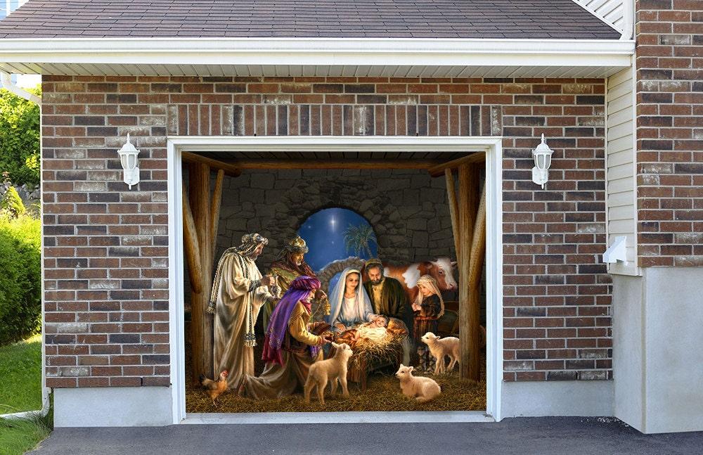 Garage Doors Dekoration : Outdoor decoration nativity scene garage door christmas