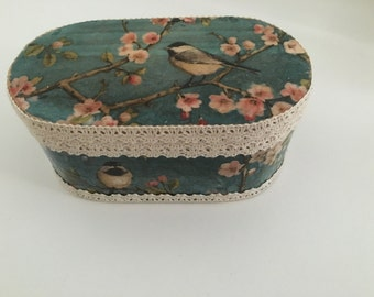 Wooden Handmade vintage  Decoupage Jewellery Box