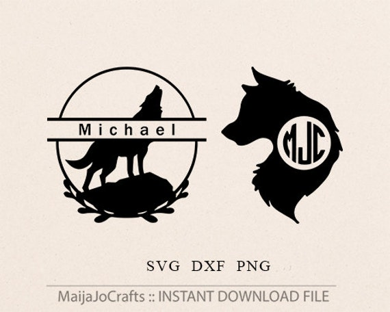 wolf monogram frame svg cut file cliipart dxf png silhouette