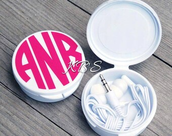 Ear Buds with Monogram Case - Easter Basket -Ear Phones- Head Phones - Monogrammed - Personalized - Gift - Stocking Stuffer - Back to School