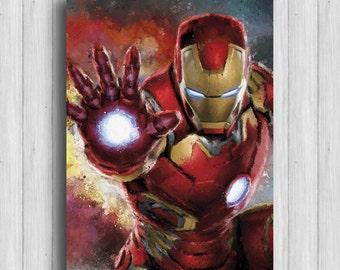Iron Man poster superhero print avengers gift marvel art