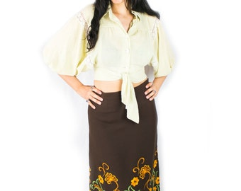 1970's Embroidered Maxi Skirt