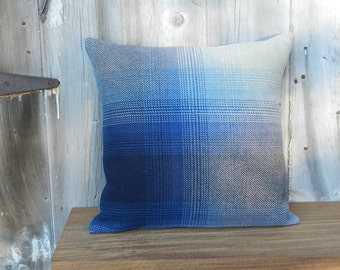 Salvaged Navy Ombre Plaid Pillow Cover