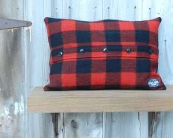 1930s Wool Buffalo Plaid Pillow