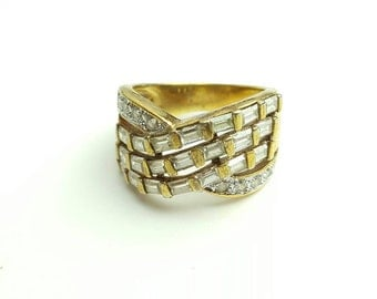 Vintage Sterling Silver Gold Plated Multistone CZ Ring- Size 7