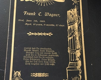 Frank C. Wagner antique victorian funeral card memorial mourning gothic macabre 1903
