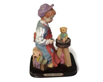 1970's Little Toymaker Statue from Marlo Collection/ Vintage figurine/ Boy figurine/ Home decor/ Baby's room decor/ Boy's room decor/