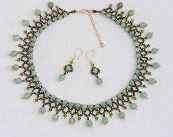 Aventurine Beaded Necklace & Earrings