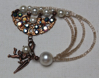 Blue/purple Tutorial & DIY bracelet copper ornament with paste stones, seed beads and pearls