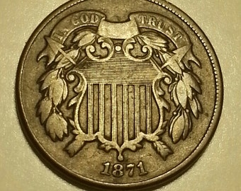 "1871 Two Cent Piece ""Free Shipping"""