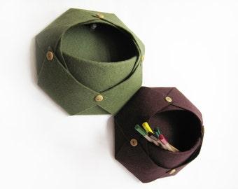 Wall catchall / Felt storage basket / set of two  / kakhi and marsala /handmade