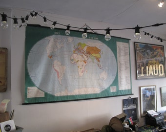 Large Vintage Pull Down Hanging School Map