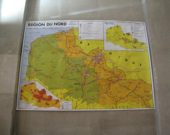 Double sided Original Vintage French Map Poster