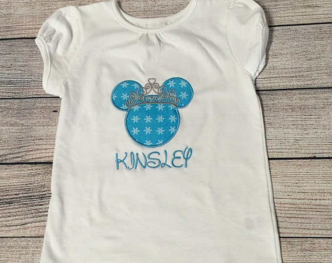 Girls Princess Minnie Mouse Applique Shirt with Name / Personalization