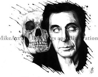 Al Pacino white eyes and skull-Pencil Drawing Prints