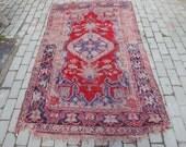 Vintage Turkish Rugs - Koula Carpet in Red & Blue