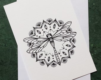 Dragonfly - Greeting card with print of original artworks