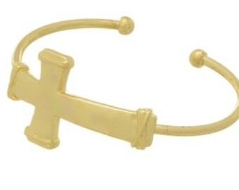 Goldtone Cross Cuff Bracelet