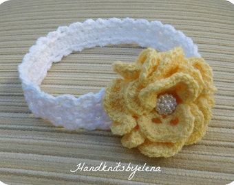 Instant Download Crochet Pattern Headband with a Yellow Rose