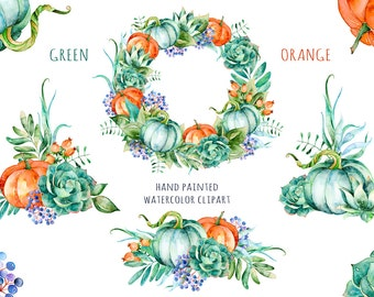 Green and Orange collection, bouquets and wreath