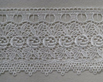 Venise Lace Trim White Rose and tiny leaves design for bridal, couture, alt art, favor bags