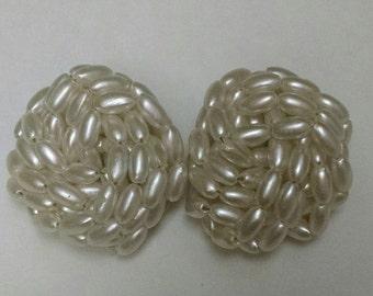 Vintage Pearl Clip Earrings
