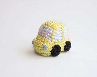 Yellow car - crochet amigurumi keychain - soft light yellow color