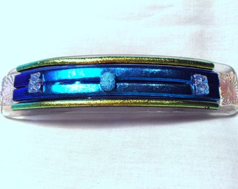 Fused glass barrette blue and gold B1