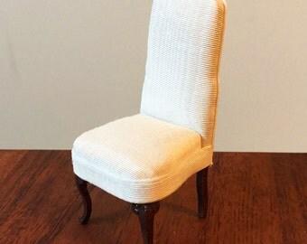 Dollhouse Furniture Slipper Chair 1:12 scale, Gorgeous Dark Cherrywood, White Ribbed Fabric