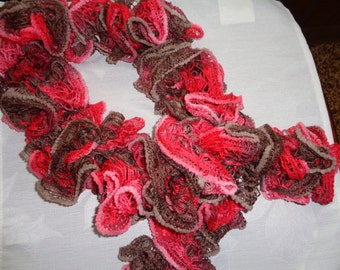 Crocheted 44 Inch Ruffled Scarf in Shades of Brown & Deep Coral