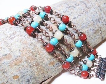 Carnelian Bracelet Boho Bracelet Romantic Bracelet Turquoise Bracelet Boho Chic Bracelet Copper Bracelet Gemstone Braselet Jade Bracelet