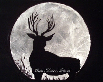 Moon and Deer  Silhouette