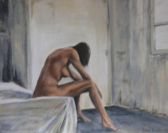 Acrylic painting, painting, woman, nude, erotic, people