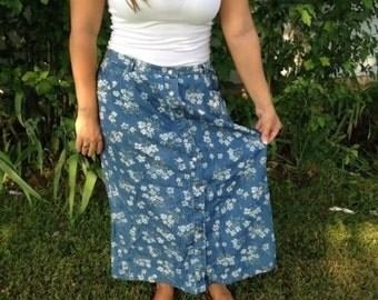 Vintage Ling Flowered Denim Skirt